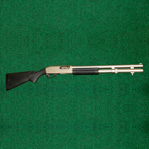"Remington: 870 Marine Magnum, 12 ga., 18"" barrel, 6 + 1 mag capacity, electroless nickel plating on metal."